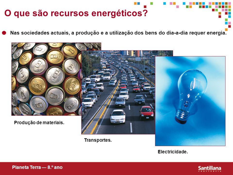 Nas sociedades actuais, a produção e a utilização dos bens do dia-a-dia requer energia. Transportes. Electricidade. Produção de materiais. O que são r