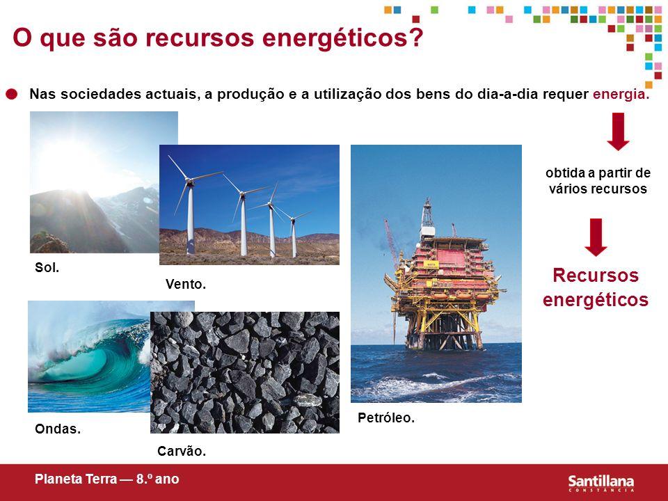 obtida a partir de vários recursos Recursos energéticos Planeta Terra 8.º ano O que são recursos energéticos? Nas sociedades actuais, a produção e a u