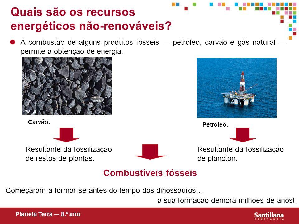 Quais são os recursos energéticos não-renováveis? A combustão de alguns produtos fósseis petróleo, carvão e gás natural permite a obtenção de energia.
