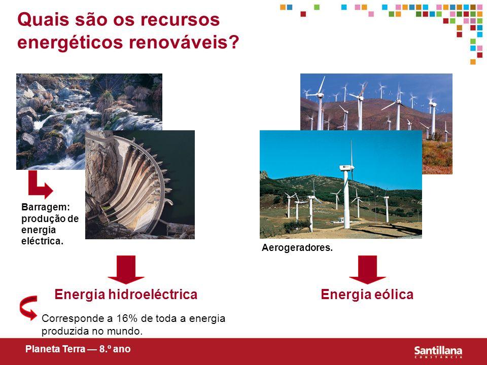 Quais são os recursos energéticos renováveis? Corresponde a 16% de toda a energia produzida no mundo. Energia eólica Planeta Terra 8.º ano Barragem: p
