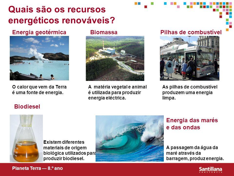 Quais são os recursos energéticos renováveis? Energia geotérmicaPilhas de combustível Biodiesel Energia das marés e das ondas Biomassa Planeta Terra 8