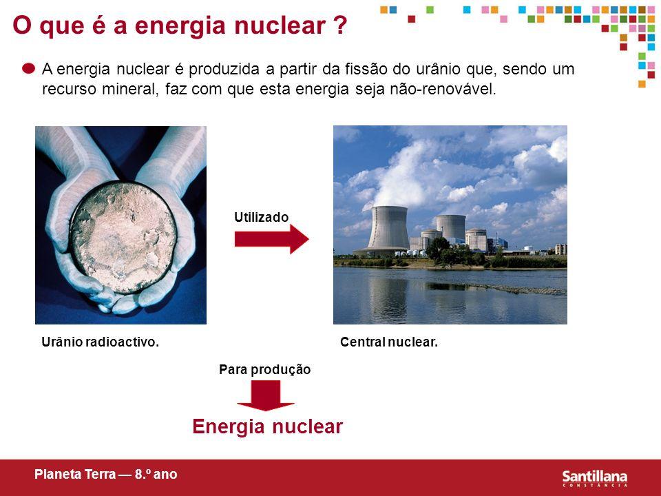 O que é a energia nuclear ? A energia nuclear é produzida a partir da fissão do urânio que, sendo um recurso mineral, faz com que esta energia seja nã