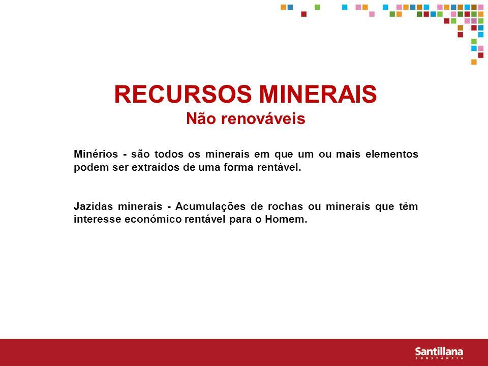 RECURSOS MINERAIS Não renováveis Minérios - são todos os minerais em que um ou mais elementos podem ser extraídos de uma forma rentável. Jazidas miner