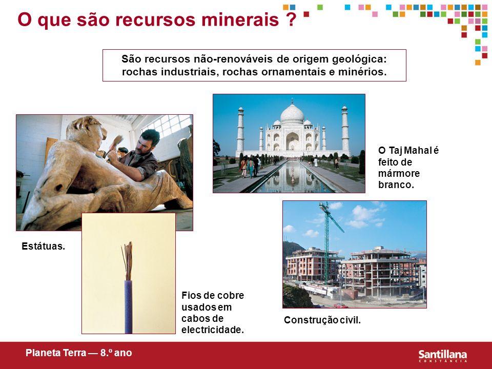 Estátuas. São recursos não-renováveis de origem geológica: rochas industriais, rochas ornamentais e minérios. O Taj Mahal é feito de mármore branco. F