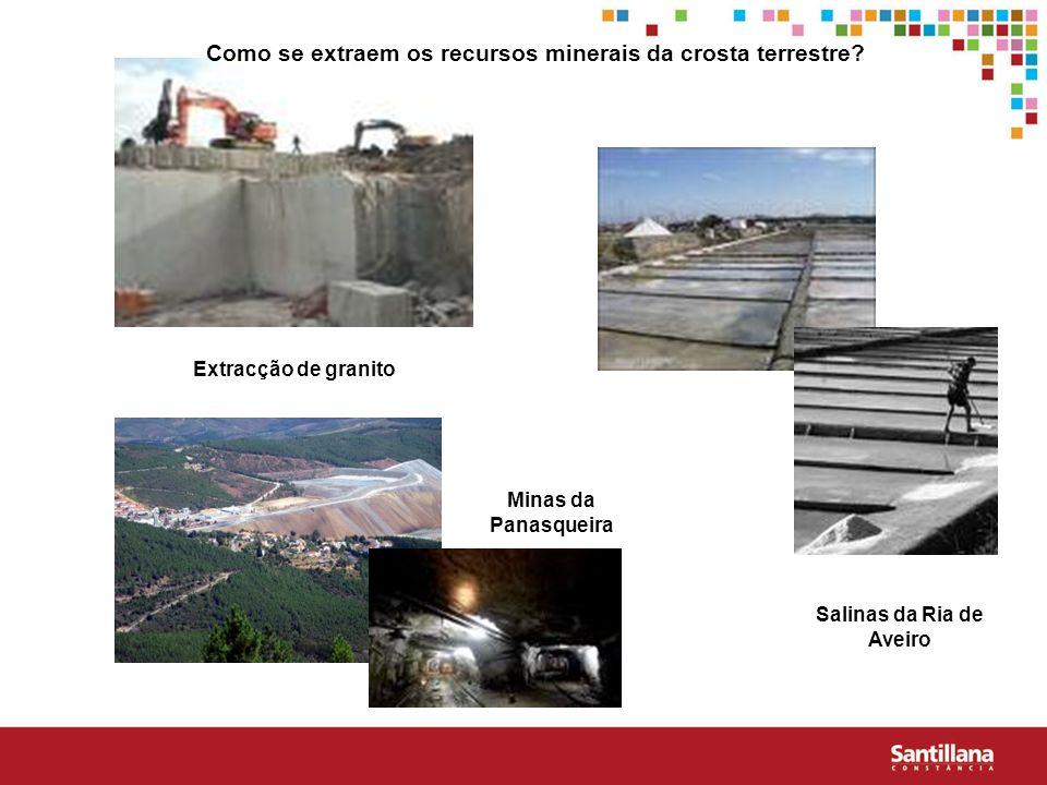 Extracção de granito Minas da Panasqueira Salinas da Ria de Aveiro Como se extraem os recursos minerais da crosta terrestre?