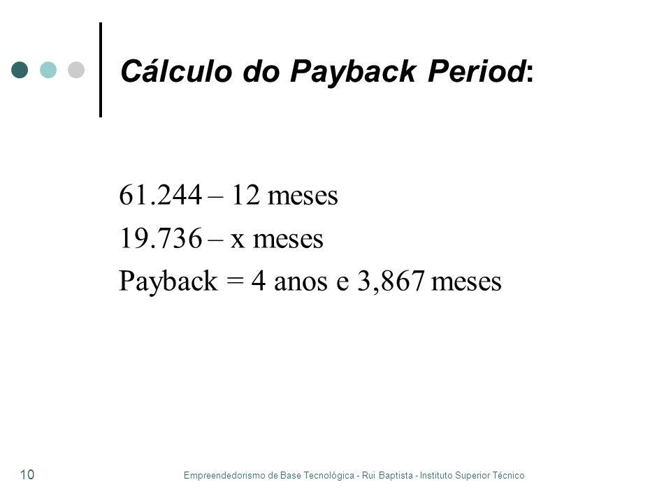 Empreendedorismo de Base Tecnológica - Rui Baptista - Instituto Superior Técnico 10 Cálculo do Payback Period: 61.244 – 12 meses 19.736 – x meses Payb