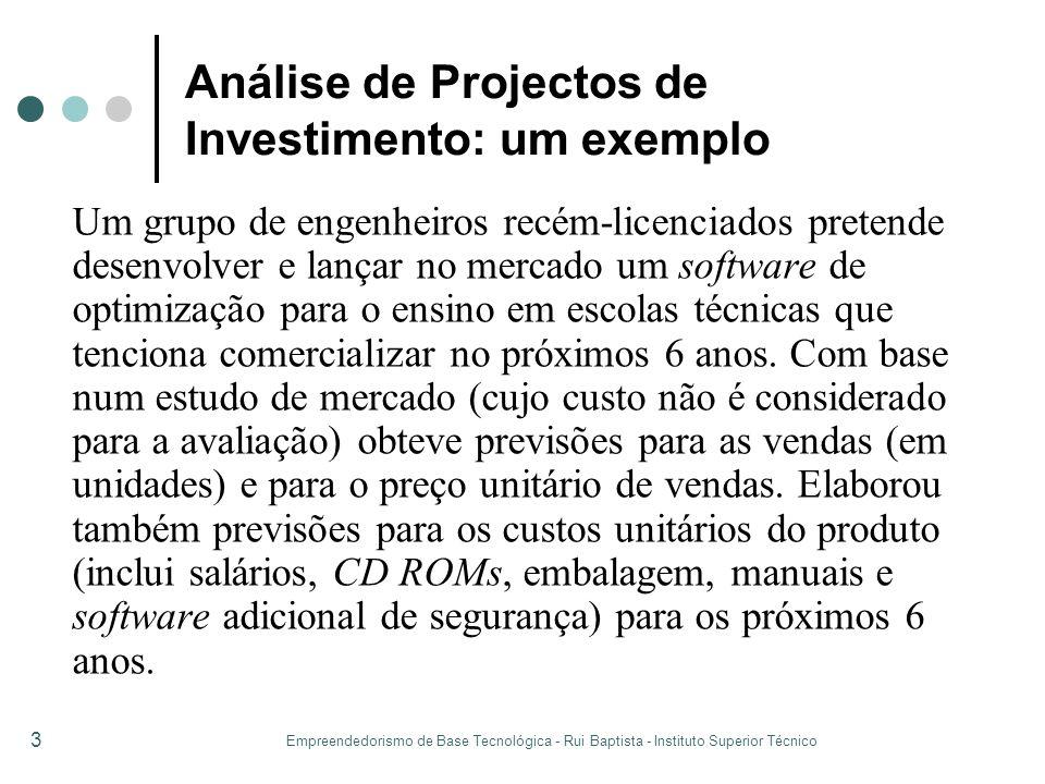 Empreendedorismo de Base Tecnológica - Rui Baptista - Instituto Superior Técnico 3 Análise de Projectos de Investimento: um exemplo Um grupo de engenh