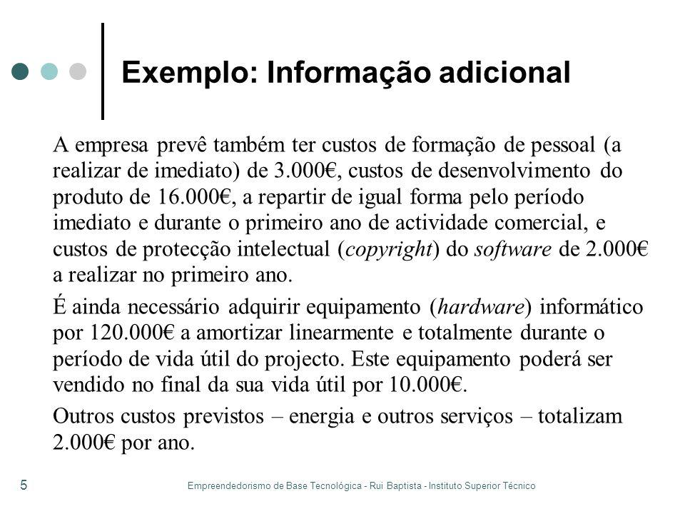 Empreendedorismo de Base Tecnológica - Rui Baptista - Instituto Superior Técnico 5 Exemplo: Informação adicional A empresa prevê também ter custos de