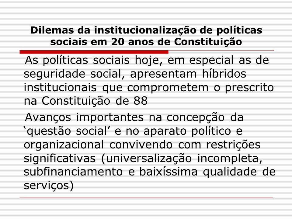 Dilemas da institucionalização de políticas sociais em 20 anos de Constituição As políticas sociais hoje, em especial as de seguridade social, apresen