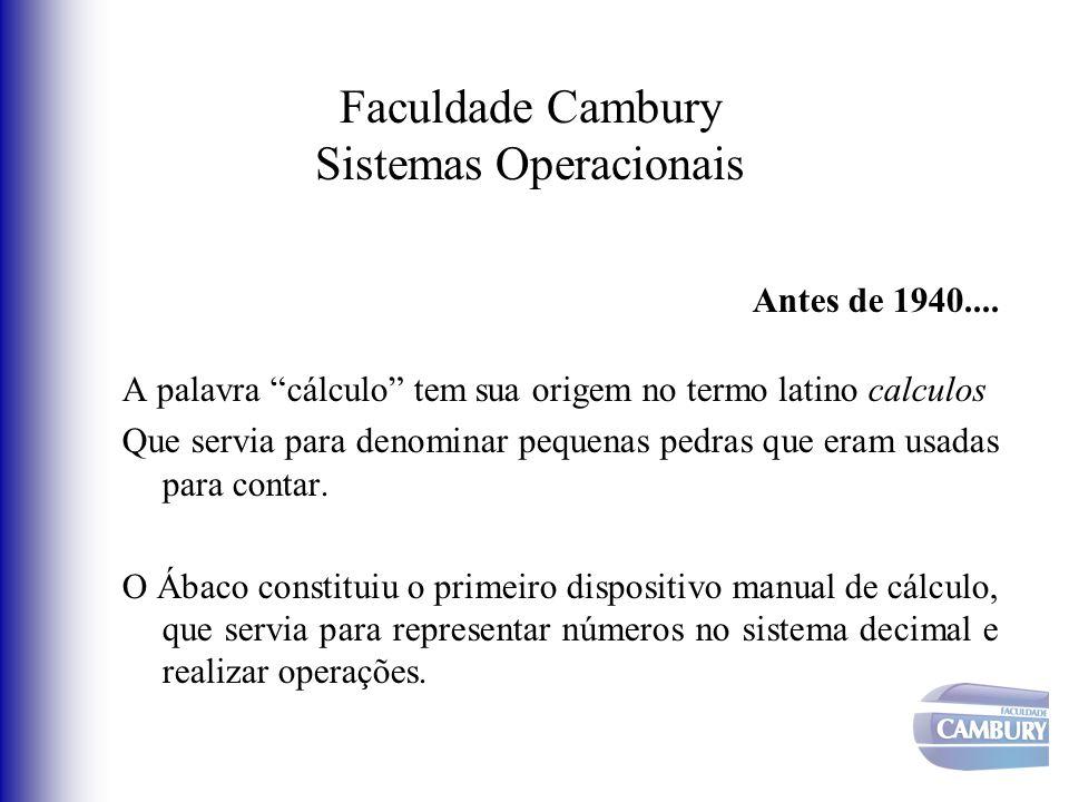 Faculdade Cambury Sistemas Operacionais Antes de 1940.... A palavra cálculo tem sua origem no termo latino calculos Que servia para denominar pequenas