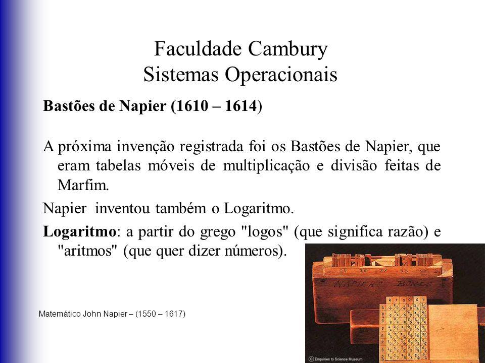 Faculdade Cambury Sistemas Operacionais Bastões de Napier (1610 – 1614) A próxima invenção registrada foi os Bastões de Napier, que eram tabelas móvei