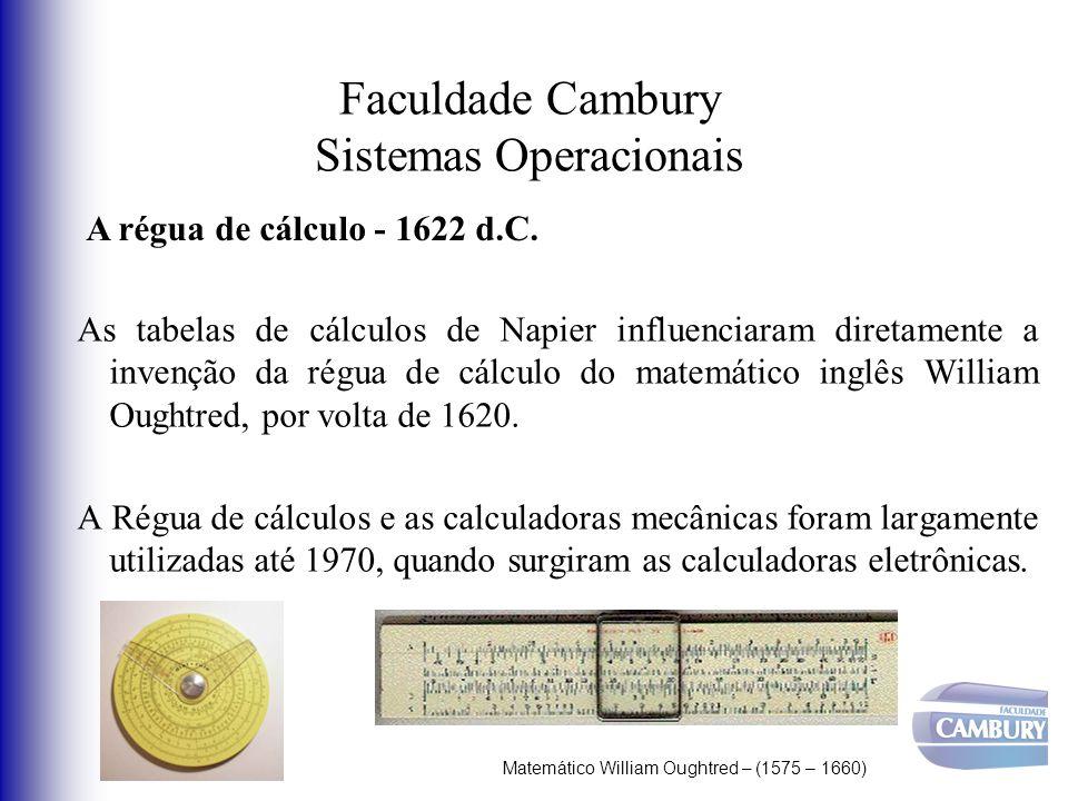 Faculdade Cambury Sistemas Operacionais As tabelas de cálculos de Napier influenciaram diretamente a invenção da régua de cálculo do matemático inglês