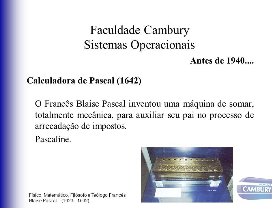 Faculdade Cambury Sistemas Operacionais Antes de 1940.... Calculadora de Pascal (1642) O Francês Blaise Pascal inventou uma máquina de somar, totalmen