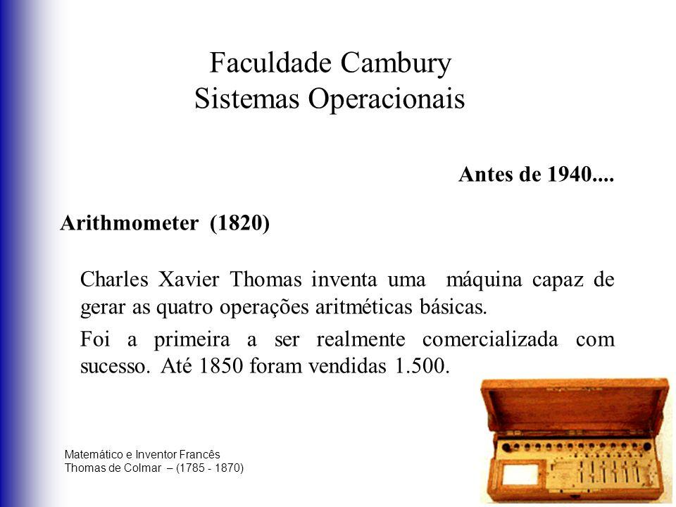 Faculdade Cambury Sistemas Operacionais Antes de 1940.... Arithmometer (1820) Charles Xavier Thomas inventa uma máquina capaz de gerar as quatro opera