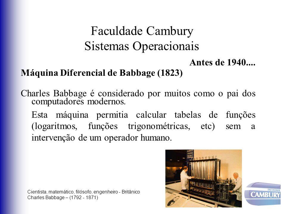 Faculdade Cambury Sistemas Operacionais Antes de 1940.... Máquina Diferencial de Babbage (1823) Charles Babbage é considerado por muitos como o pai do