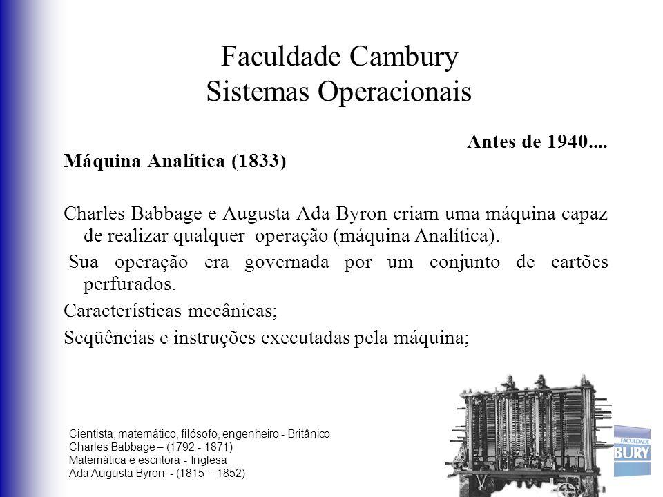 Faculdade Cambury Sistemas Operacionais Antes de 1940.... Máquina Analítica (1833) Charles Babbage e Augusta Ada Byron criam uma máquina capaz de real