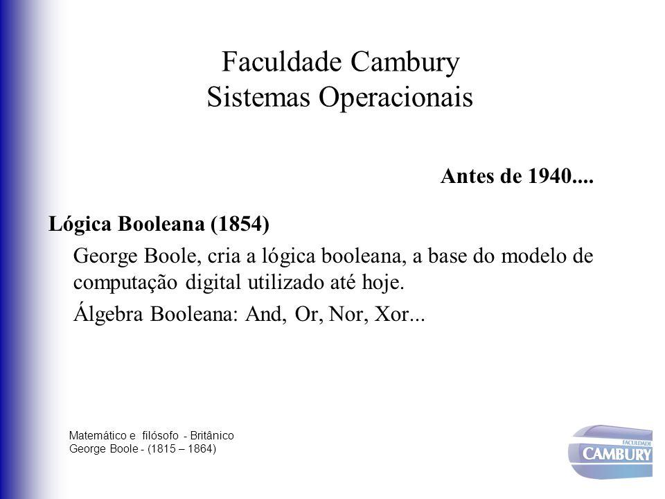 Faculdade Cambury Sistemas Operacionais Antes de 1940.... Lógica Booleana (1854) George Boole, cria a lógica booleana, a base do modelo de computação