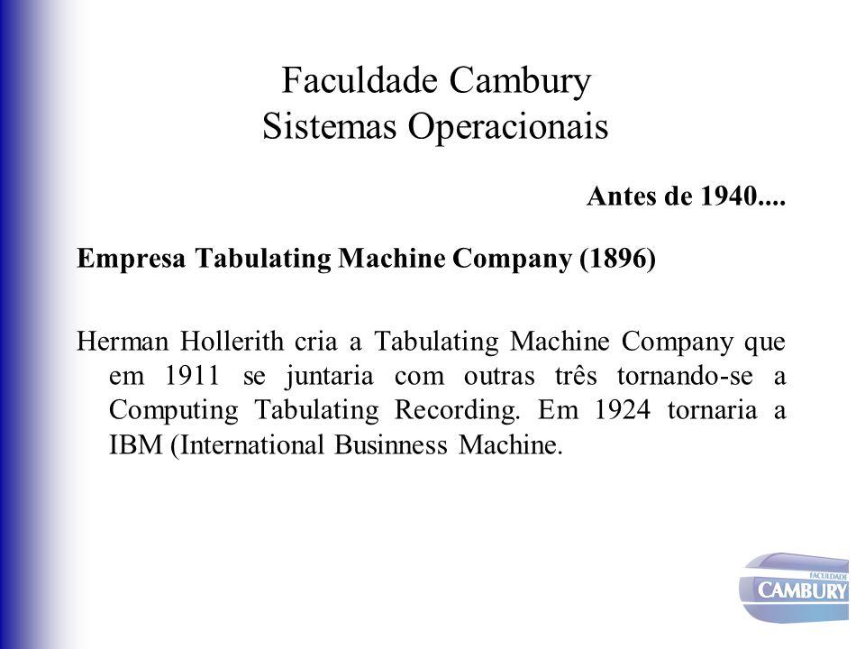 Faculdade Cambury Sistemas Operacionais Antes de 1940.... Empresa Tabulating Machine Company (1896) Herman Hollerith cria a Tabulating Machine Company