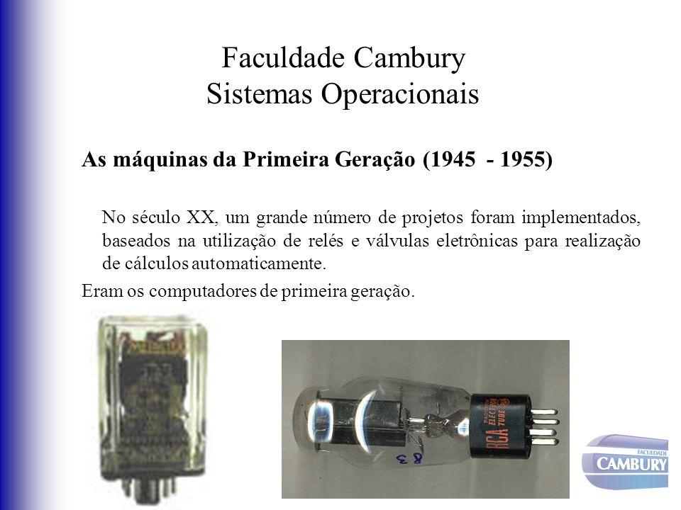 Faculdade Cambury Sistemas Operacionais As máquinas da Primeira Geração (1945 - 1955) No século XX, um grande número de projetos foram implementados,