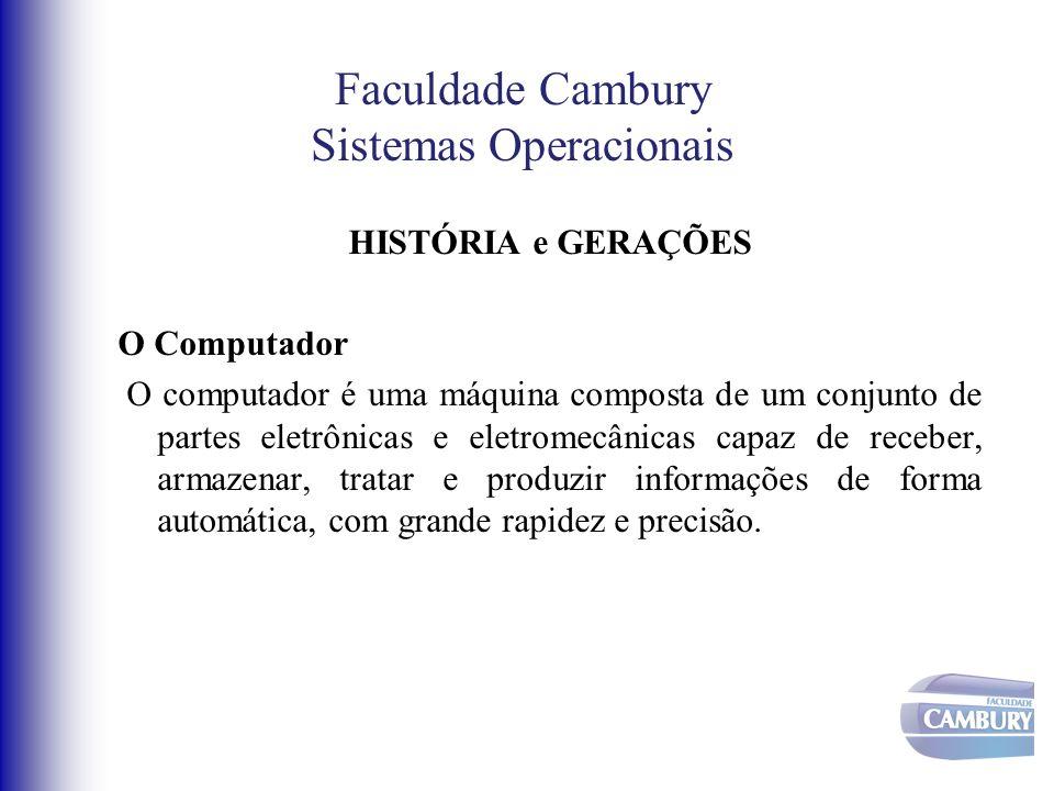 Faculdade Cambury Sistemas Operacionais HISTÓRIA e GERAÇÕES O Computador O computador é uma máquina composta de um conjunto de partes eletrônicas e el