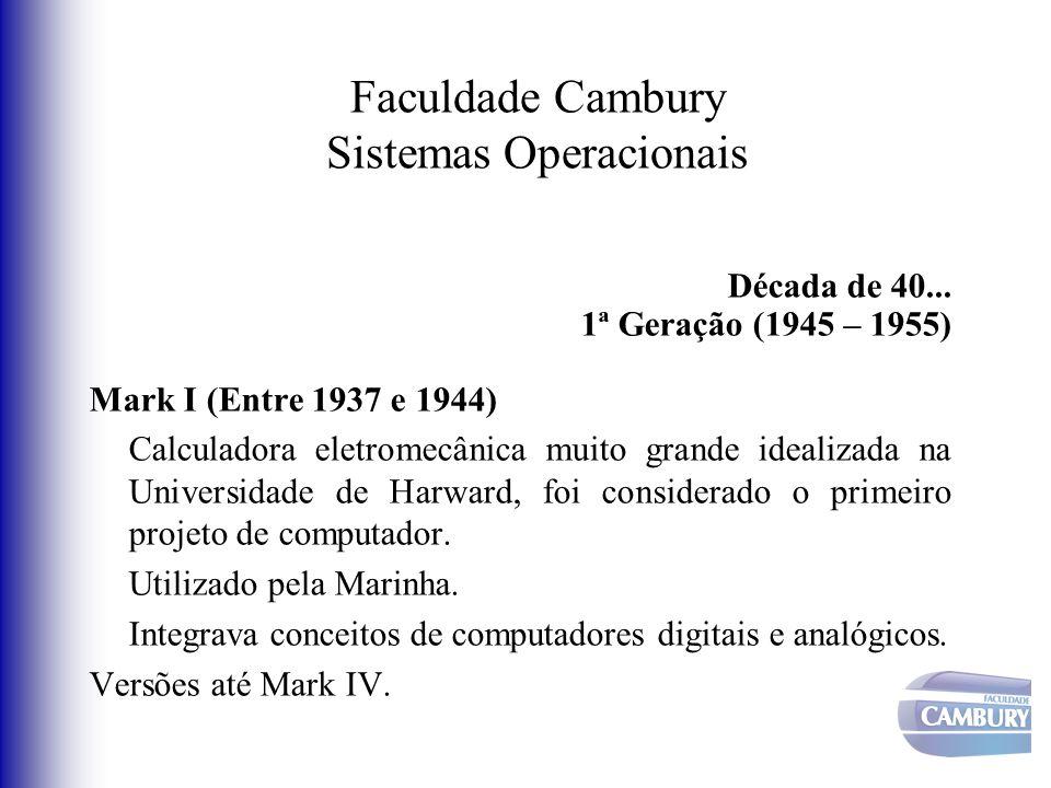 Faculdade Cambury Sistemas Operacionais Década de 40... 1ª Geração (1945 – 1955) Mark I (Entre 1937 e 1944) Calculadora eletromecânica muito grande id