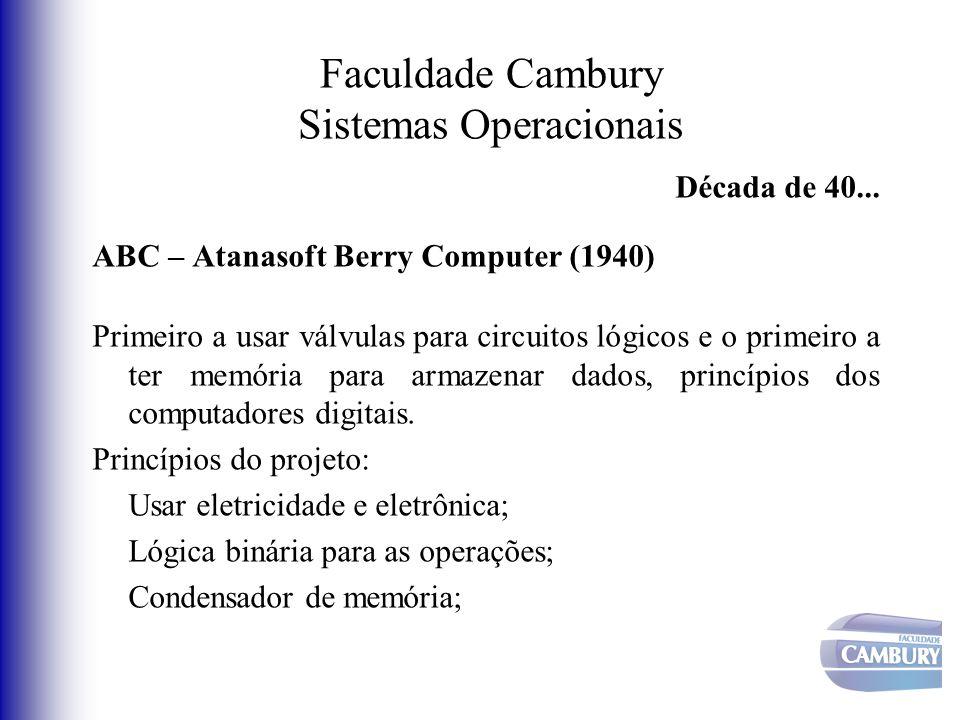 Faculdade Cambury Sistemas Operacionais Década de 40... ABC – Atanasoft Berry Computer (1940) Primeiro a usar válvulas para circuitos lógicos e o prim