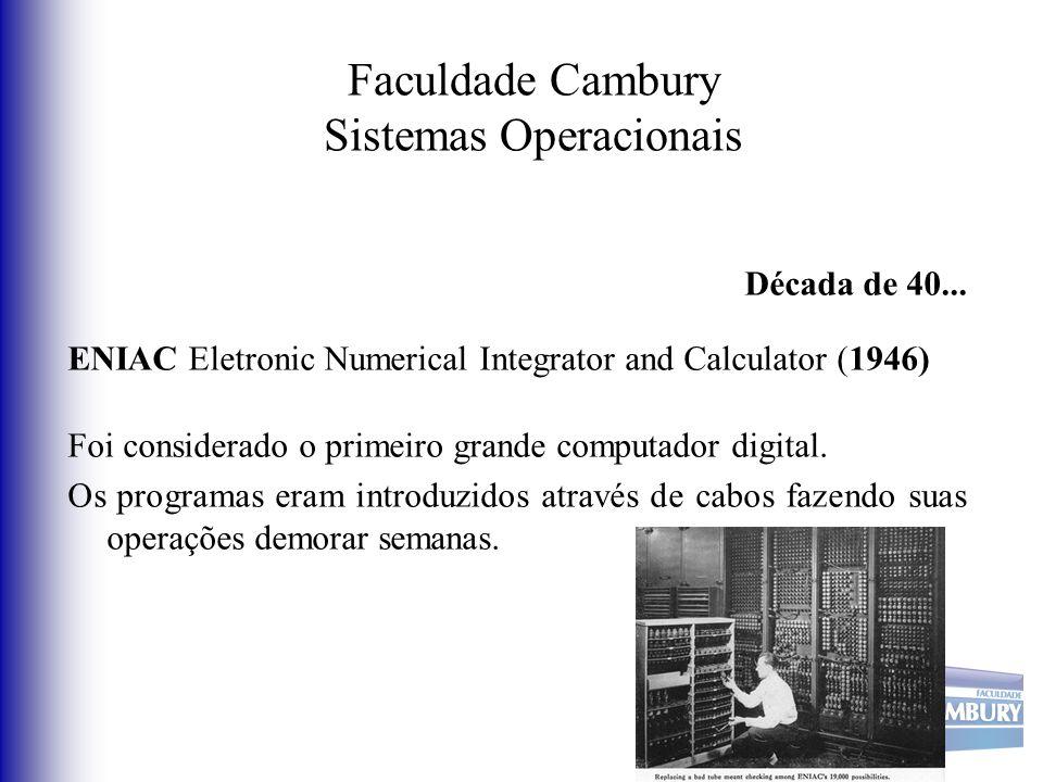 Faculdade Cambury Sistemas Operacionais Década de 40... ENIAC Eletronic Numerical Integrator and Calculator (1946) Foi considerado o primeiro grande c