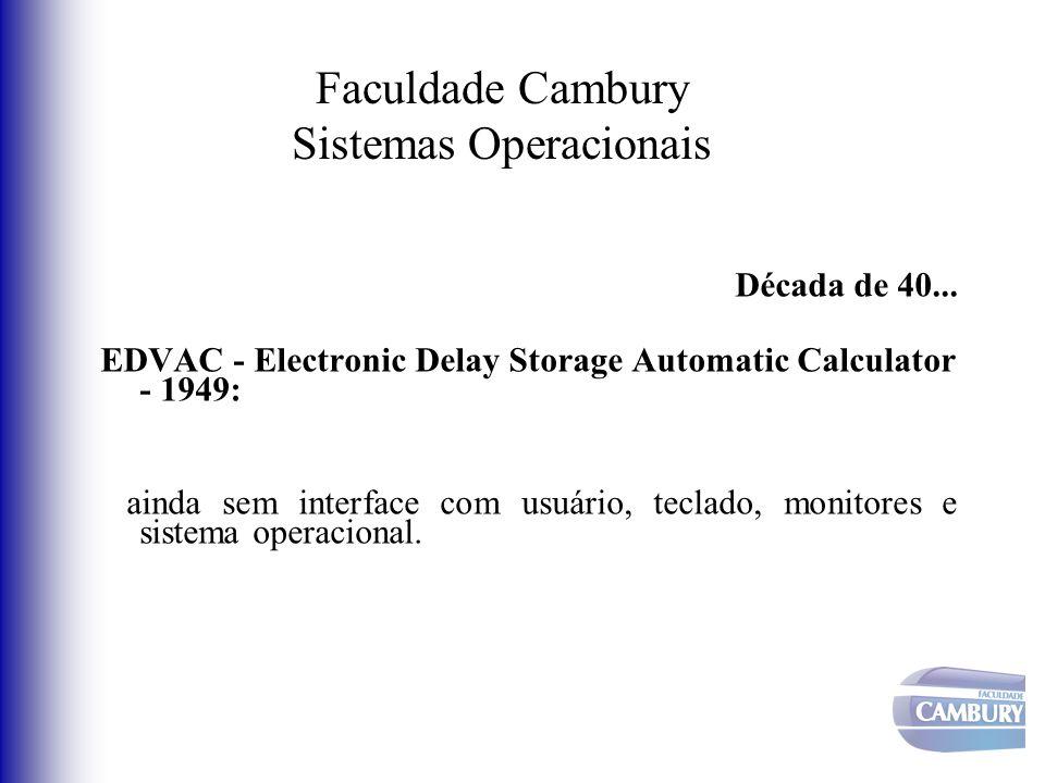 Faculdade Cambury Sistemas Operacionais Década de 40... EDVAC - Electronic Delay Storage Automatic Calculator - 1949: ainda sem interface com usuário,