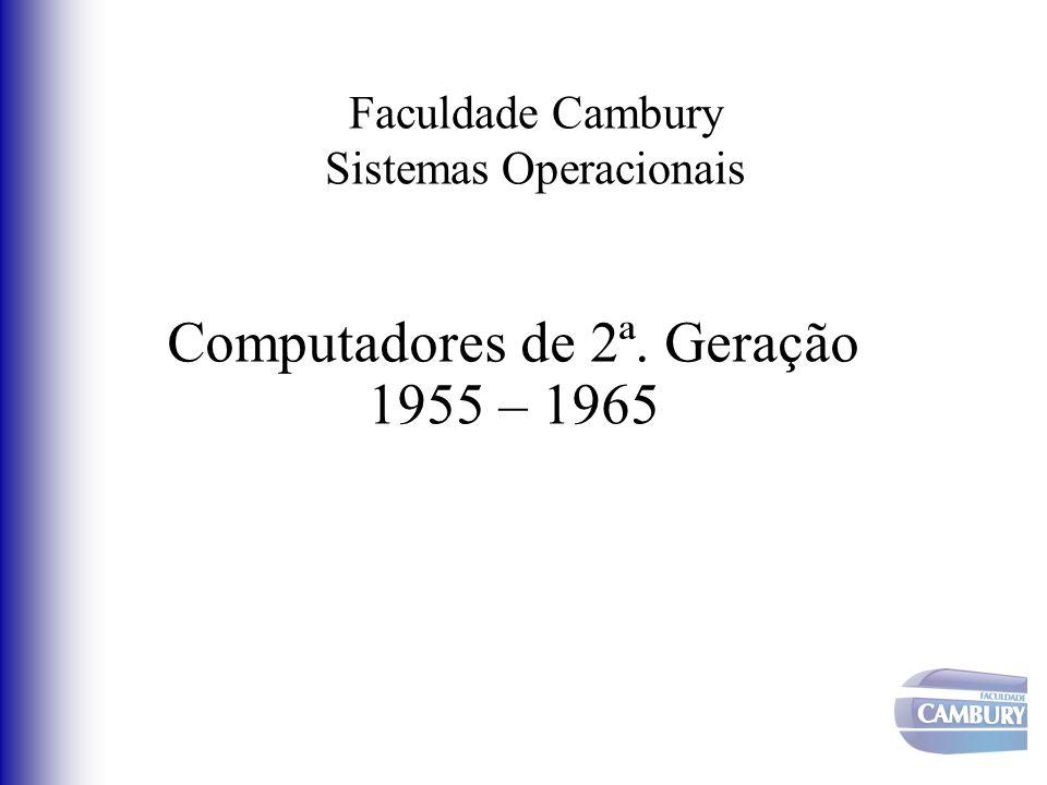 Faculdade Cambury Sistemas Operacionais Computadores de 2ª. Geração 1955 – 1965