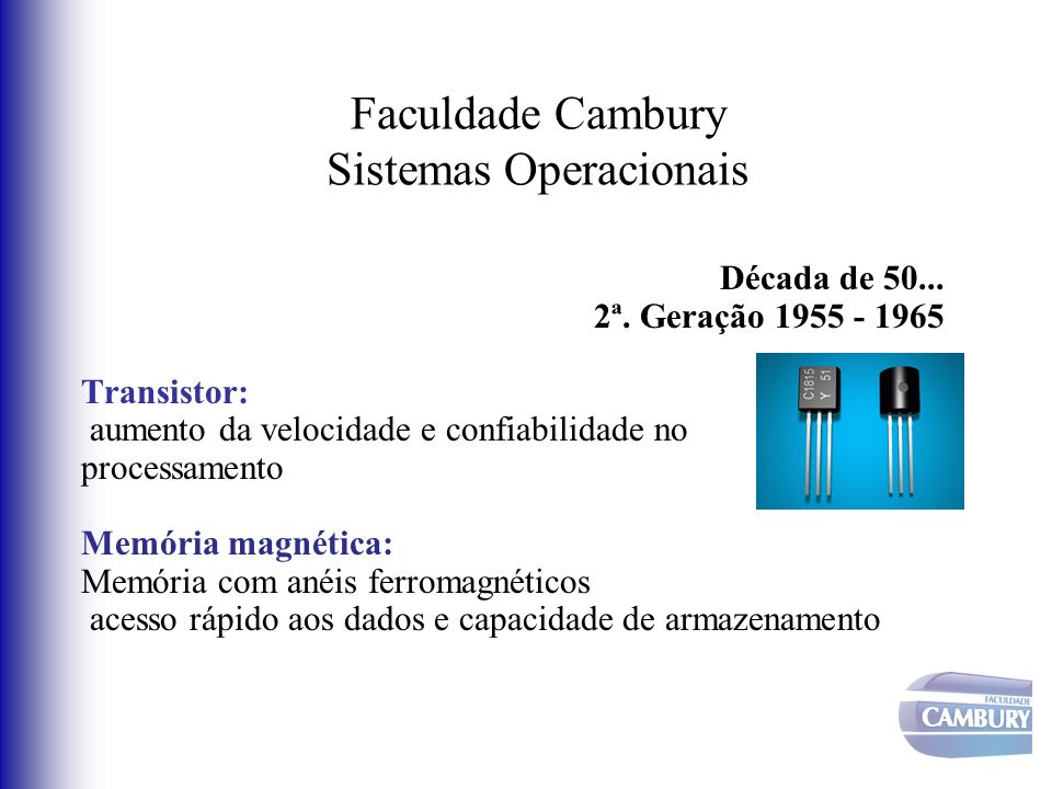 Faculdade Cambury Sistemas Operacionais Década de 50... 2ª. Geração 1955 - 1965 Transistor: aumento da velocidade e confiabilidade no processamento Me