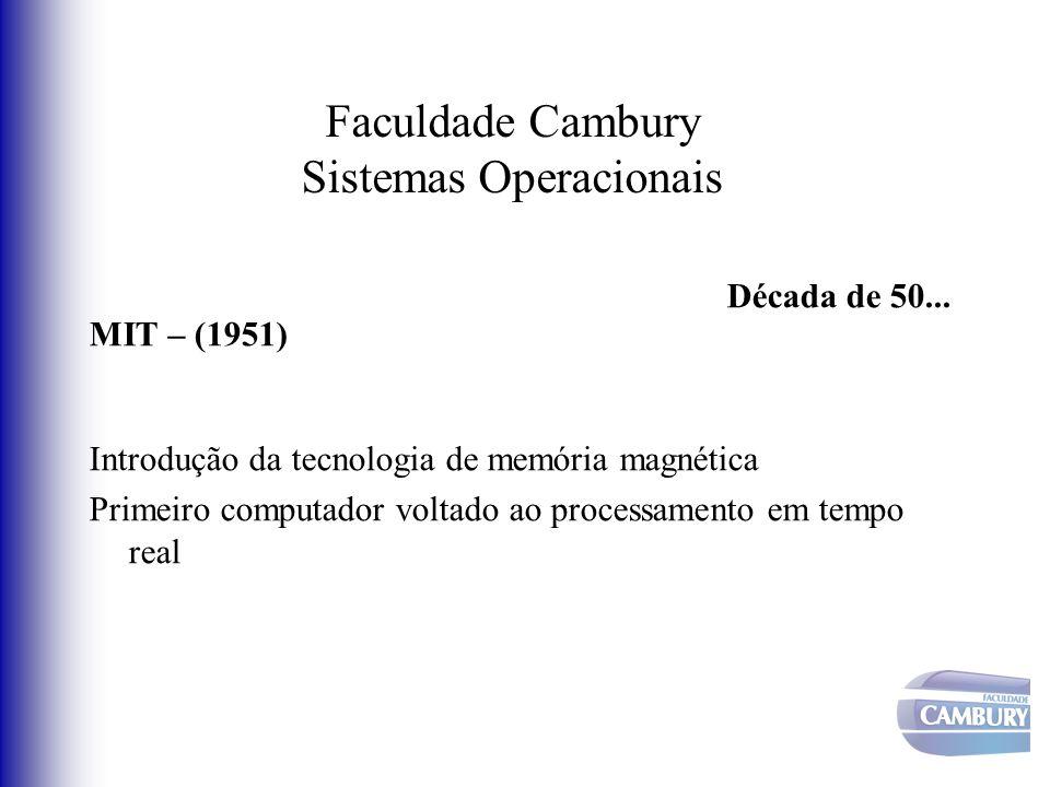 Faculdade Cambury Sistemas Operacionais Década de 50... MIT – (1951) Introdução da tecnologia de memória magnética Primeiro computador voltado ao proc