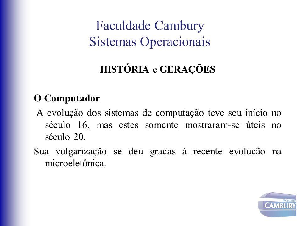Faculdade Cambury Sistemas Operacionais Geração Zero ( Século XVII) Os primeiros computadores, ou de Geração zero, apareceram no século XVII e eram compostos exclusivamente por elementos mecânicos.