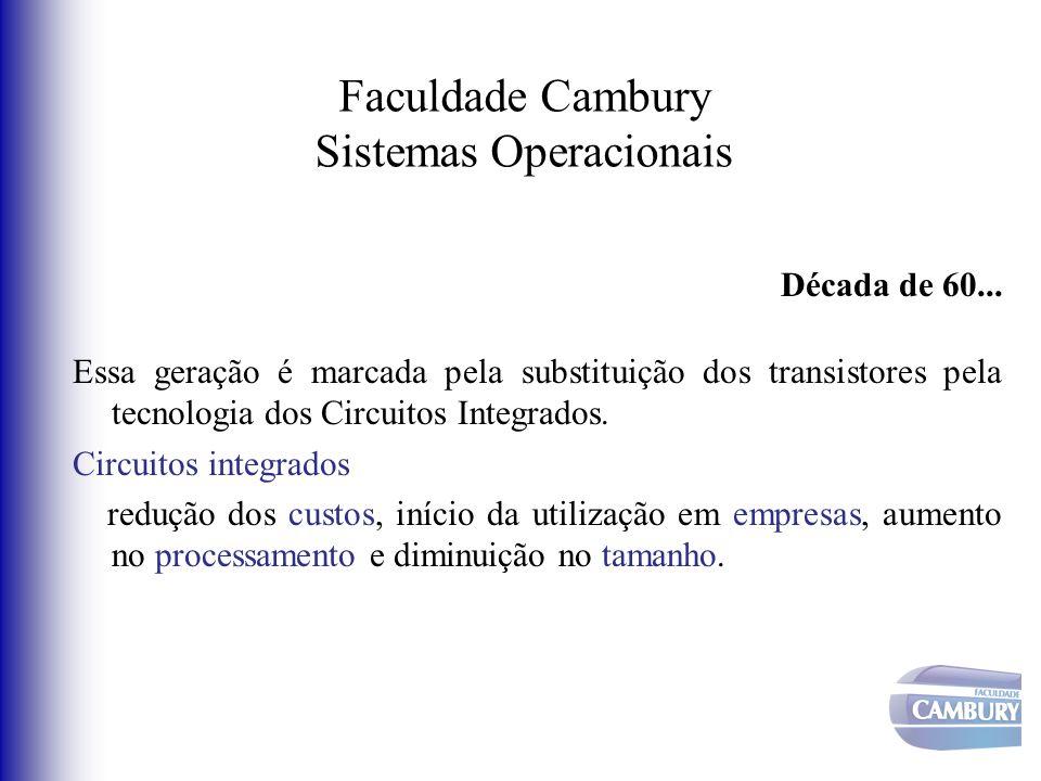 Faculdade Cambury Sistemas Operacionais Década de 60... Essa geração é marcada pela substituição dos transistores pela tecnologia dos Circuitos Integr