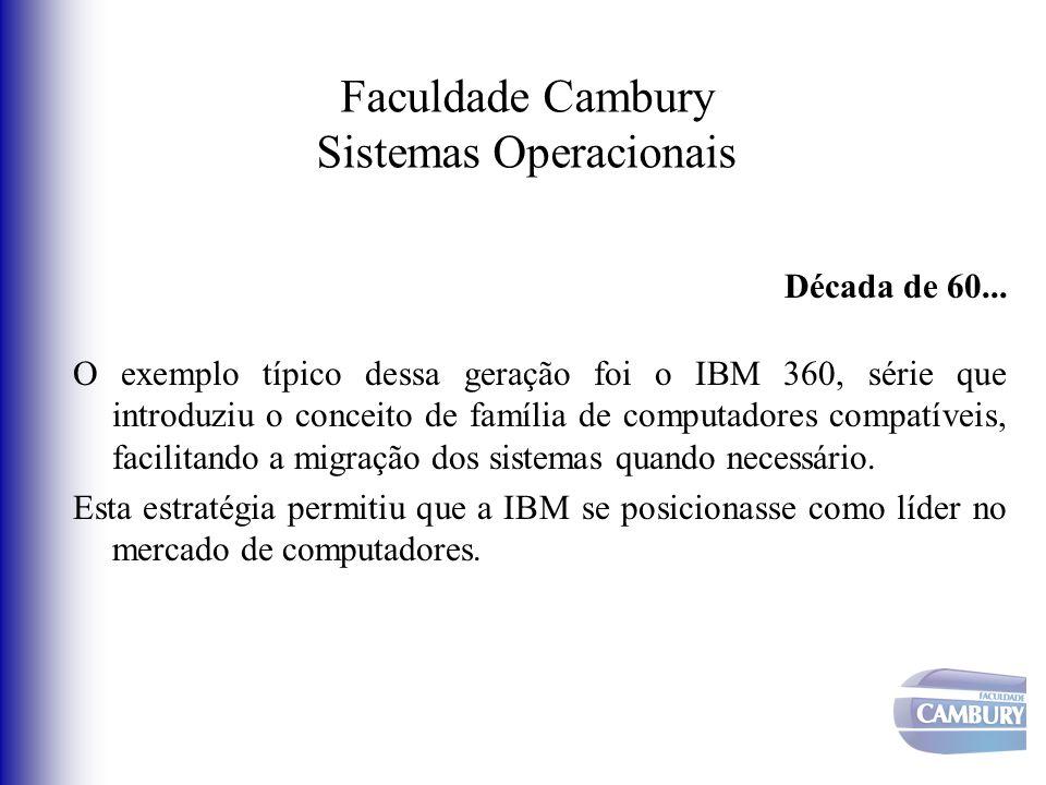 Faculdade Cambury Sistemas Operacionais Década de 60... O exemplo típico dessa geração foi o IBM 360, série que introduziu o conceito de família de co