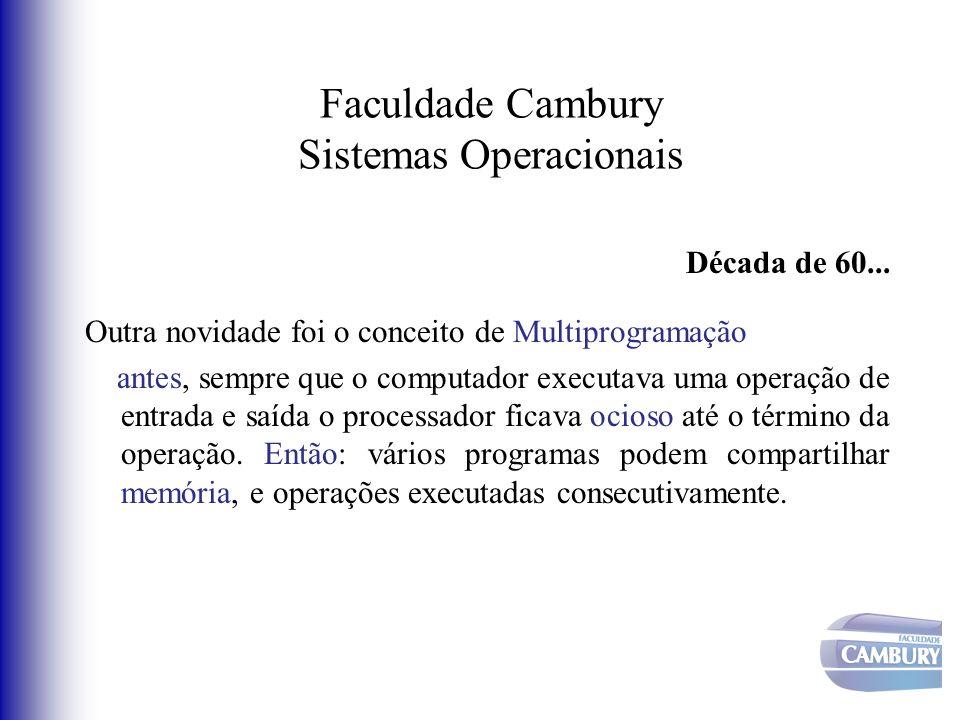 Faculdade Cambury Sistemas Operacionais Década de 60... Outra novidade foi o conceito de Multiprogramação antes, sempre que o computador executava uma