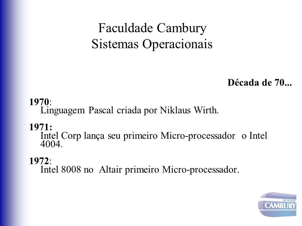 Faculdade Cambury Sistemas Operacionais Década de 70... 1970: Linguagem Pascal criada por Niklaus Wirth. 1971: Intel Corp lança seu primeiro Micro-pro