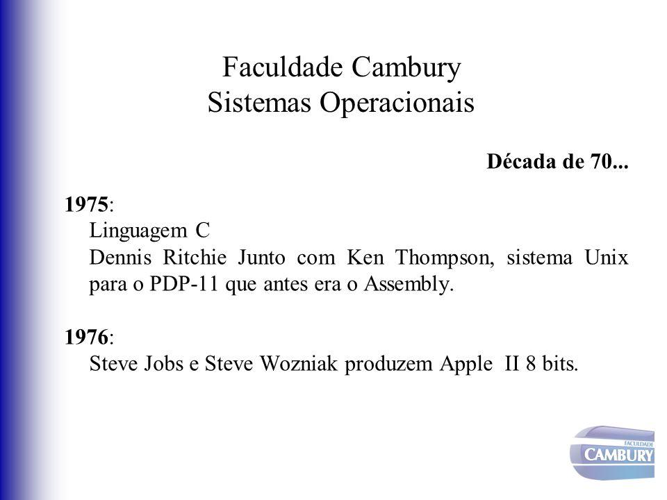 Faculdade Cambury Sistemas Operacionais Década de 70... 1975: Linguagem C Dennis Ritchie Junto com Ken Thompson, sistema Unix para o PDP-11 que antes