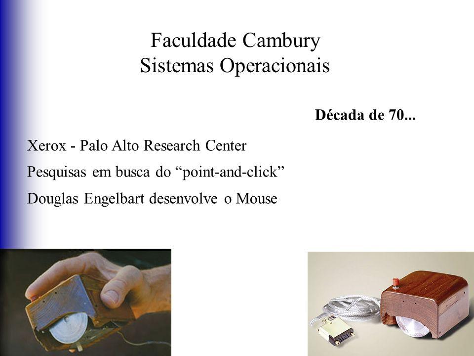 Faculdade Cambury Sistemas Operacionais Década de 70... Xerox - Palo Alto Research Center Pesquisas em busca do point-and-click Douglas Engelbart dese