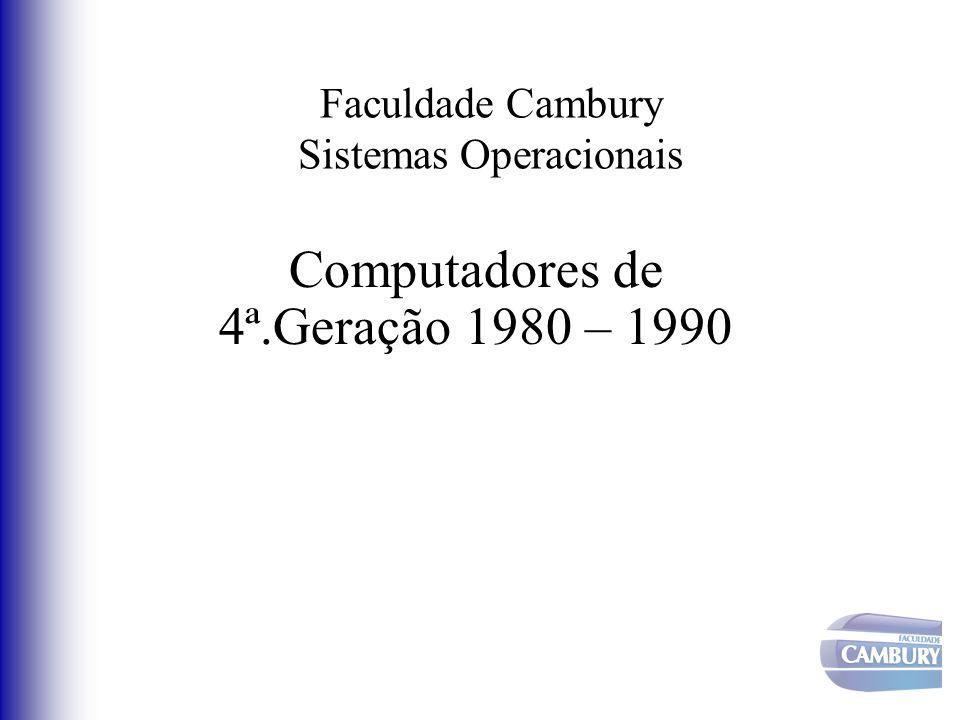 Faculdade Cambury Sistemas Operacionais Computadores de 4ª.Geração 1980 – 1990