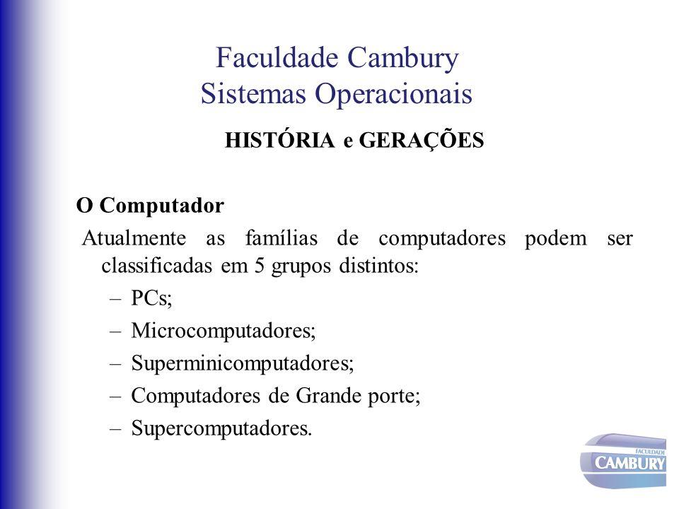 Faculdade Cambury Sistemas Operacionais HISTÓRIA e GERAÇÕES O Computador Atualmente as famílias de computadores podem ser classificadas em 5 grupos di