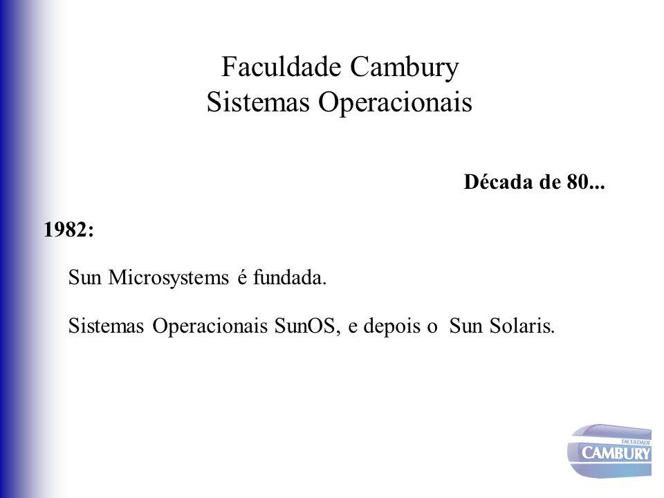 Faculdade Cambury Sistemas Operacionais Década de 80... 1982: Sun Microsystems é fundada. Sistemas Operacionais SunOS, e depois o Sun Solaris.