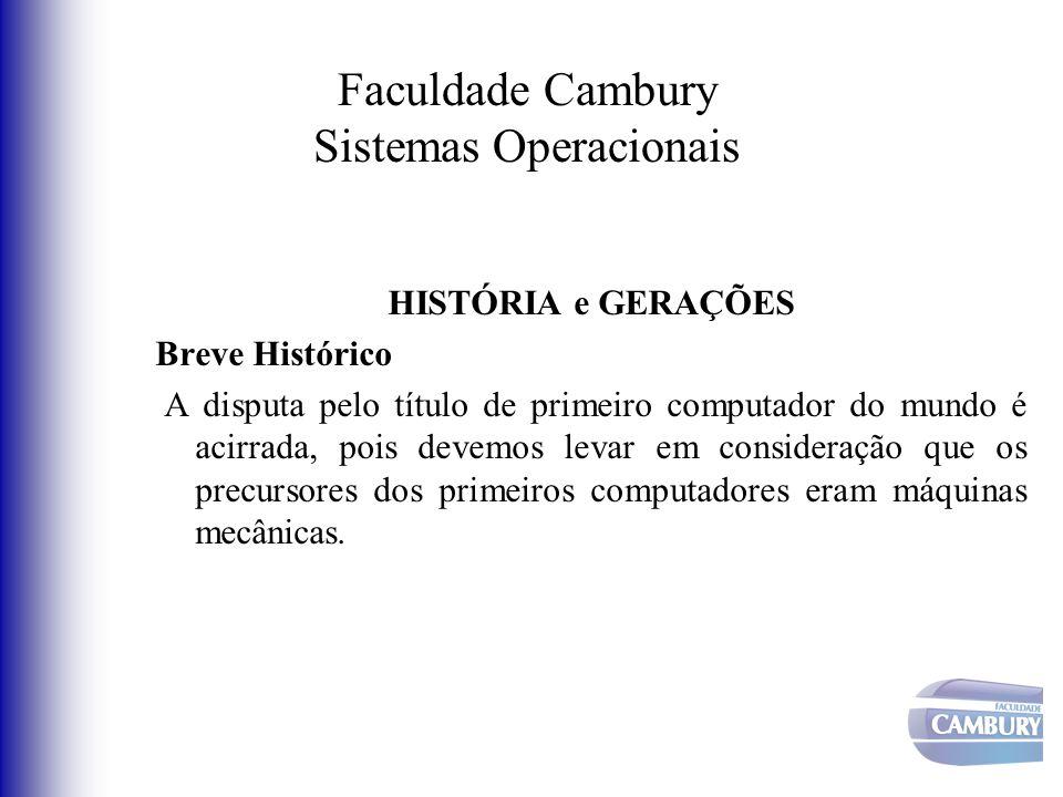 Faculdade Cambury Sistemas Operacionais As máquinas da Primeira Geração (1945 - 1955) Desvantagens: Custo elevado; Lentidão; Pouca confiabilidade; Consumo de energia; Grandes instalações de ar condicionado (20 mil válvulas)
