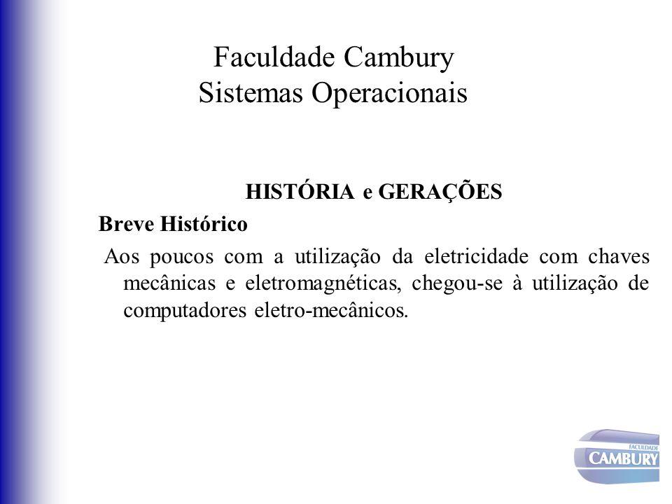 Faculdade Cambury Sistemas Operacionais HISTÓRIA e GERAÇÕES Breve Histórico Aos poucos com a utilização da eletricidade com chaves mecânicas e eletrom