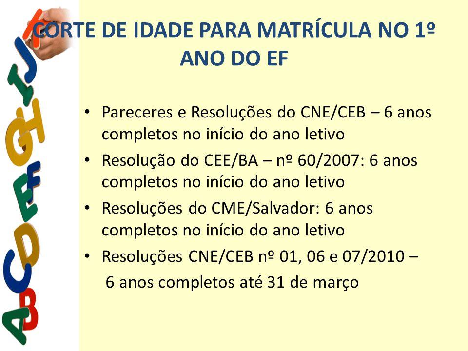 CORTE DE IDADE PARA MATRÍCULA NO 1º ANO DO EF Pareceres e Resoluções do CNE/CEB – 6 anos completos no início do ano letivo Resolução do CEE/BA – nº 60