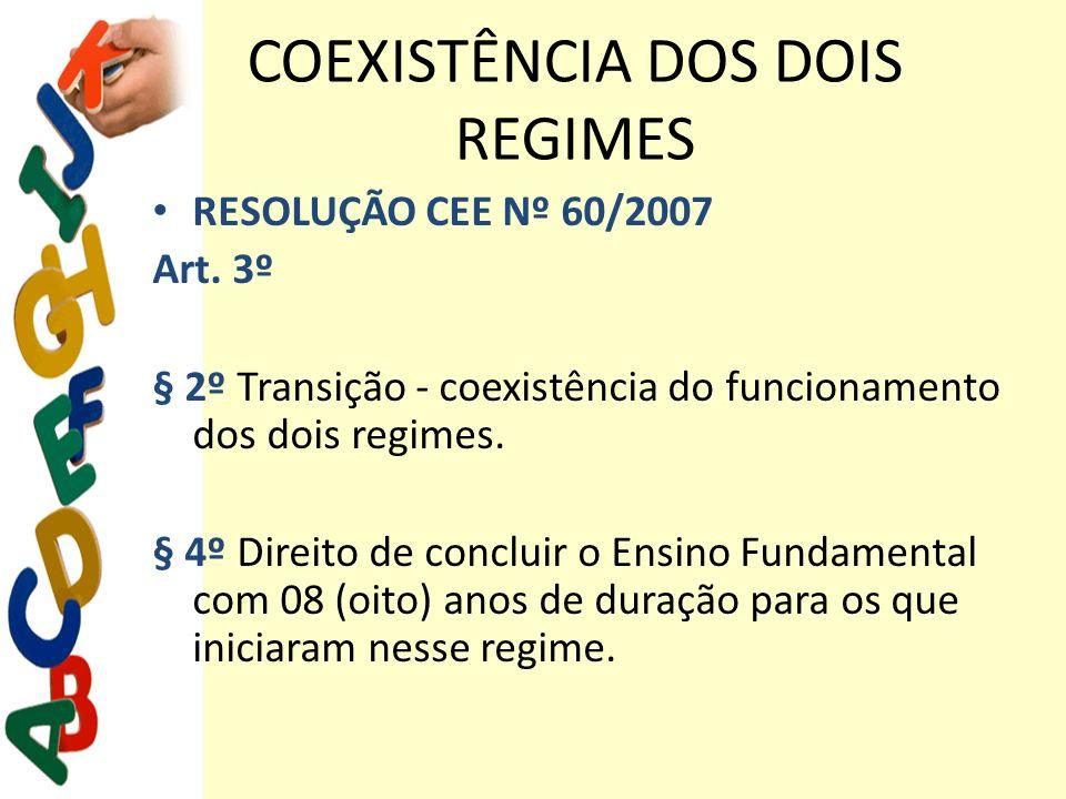 COEXISTÊNCIA DOS DOIS REGIMES RESOLUÇÃO CEE Nº 60/2007 Art. 3º § 2º Transição - coexistência do funcionamento dos dois regimes. § 4º Direito de conclu