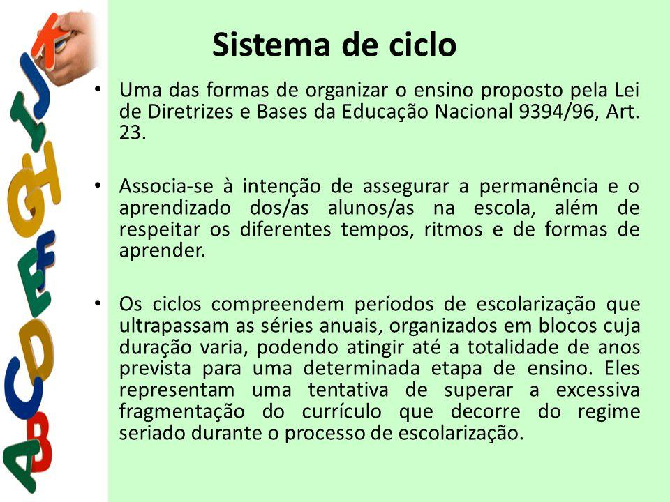 Sistema de ciclo Uma das formas de organizar o ensino proposto pela Lei de Diretrizes e Bases da Educação Nacional 9394/96, Art. 23. Associa-se à inte