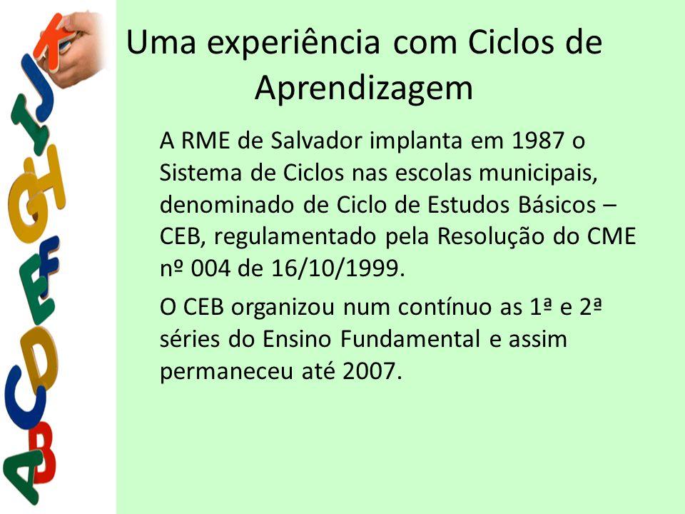 Uma experiência com Ciclos de Aprendizagem A RME de Salvador implanta em 1987 o Sistema de Ciclos nas escolas municipais, denominado de Ciclo de Estud