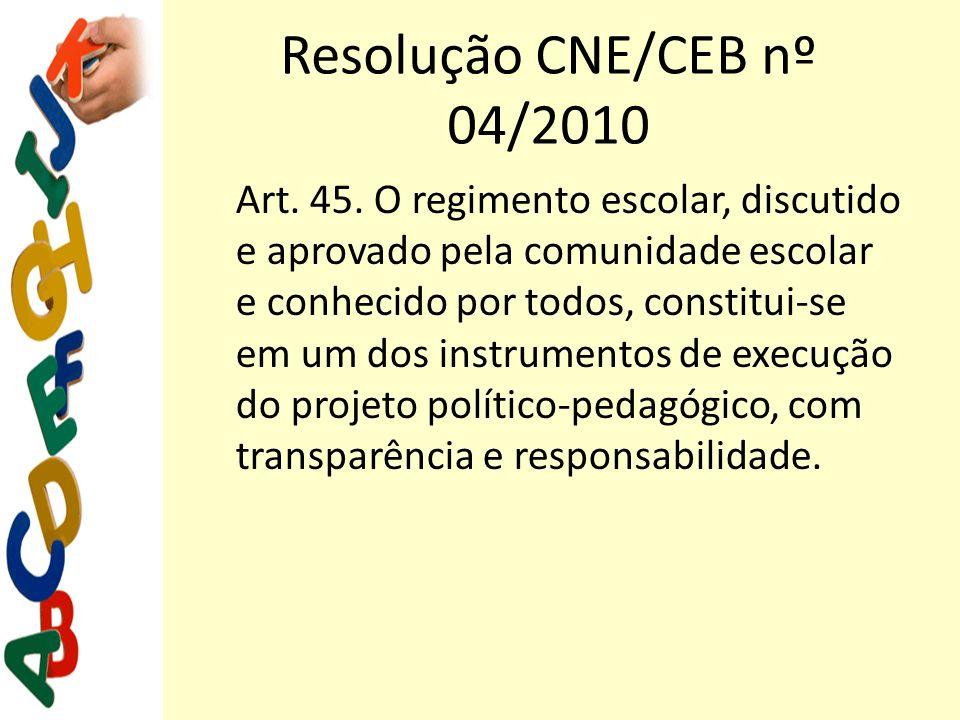 Resolução CNE/CEB nº 04/2010 Art. 45. O regimento escolar, discutido e aprovado pela comunidade escolar e conhecido por todos, constitui-se em um dos
