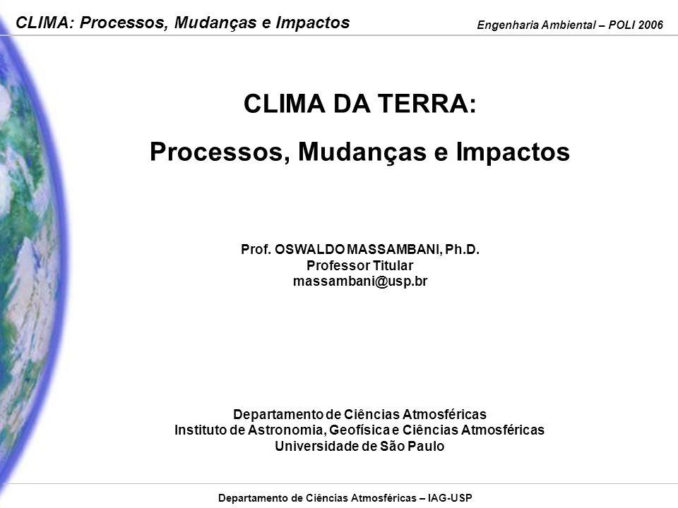 Engenharia Ambiental – POLI 2006 CLIMA: Processos, Mudanças e Impactos Departamento de Ciências Atmosféricas – IAG-USP CLIMA DA TERRA: Processos, Muda