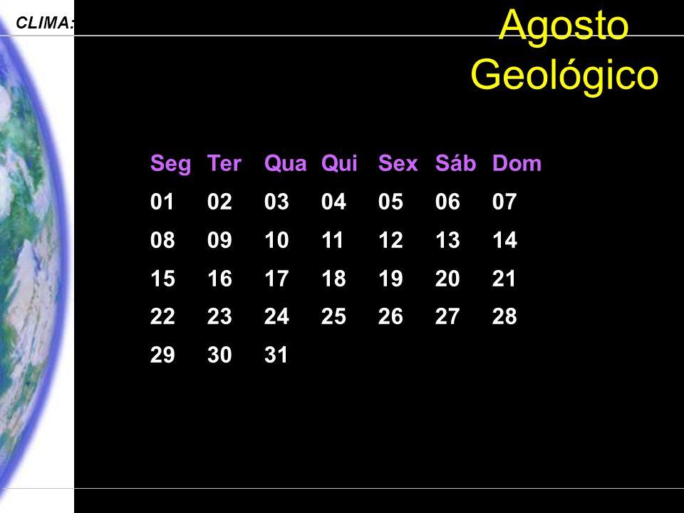 Engenharia Ambiental – POLI 2006 CLIMA: Processos, Mudanças e Impactos Departamento de Ciências Atmosféricas – IAG-USP Agosto Geológico SegTerQuaQuiSexSábDom 01020304050607 08091011121314 15161718192021 22232425262728 293031